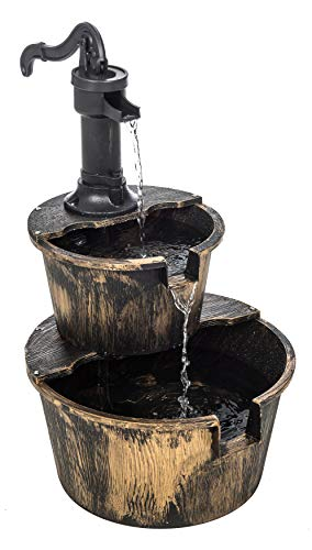 FiNeWaY 2 Tier Garden Barrel Water Fountain Feature Cascade Waterfall With Electric Submersible Pump Outdoor Patio Decorative Ornament Patio Wooden Effect Feature Deck
