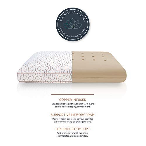 SensorPEDIC Wellness Collection Copper Infused Memory Foam Bed Pillow, Oversized, White