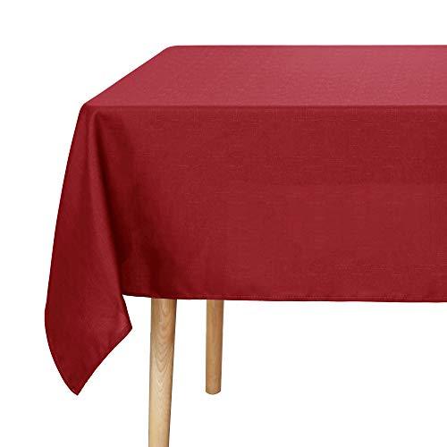 UMI. Essentials Rechthoekige Tafeldoeken Wasbaar geweven Textuur Stof Waterbestendig Tafelkleed Rechthoek Tafeldoek voor Eten 137x274cm Rood