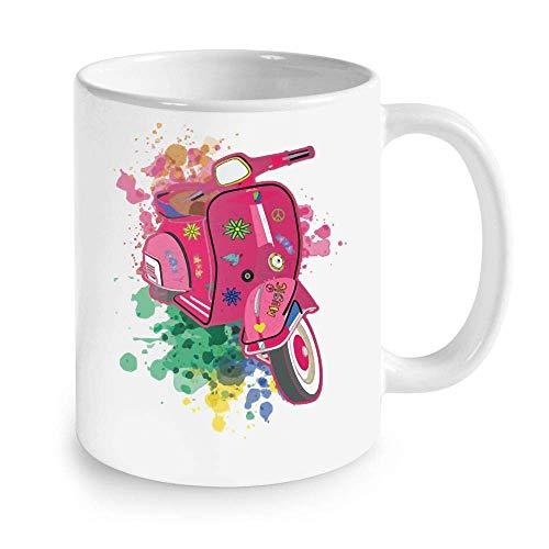 N\A Regalos para Hippies - Scooter Motor Bike Estilo Hippie Flower Power Hippie Taza de café 11 oz