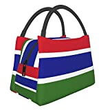 Divertente borsa per il pranzo con bandiera del Gambia, impermeabile, grande capacità, per ufficio, scuola, picnic e mamma