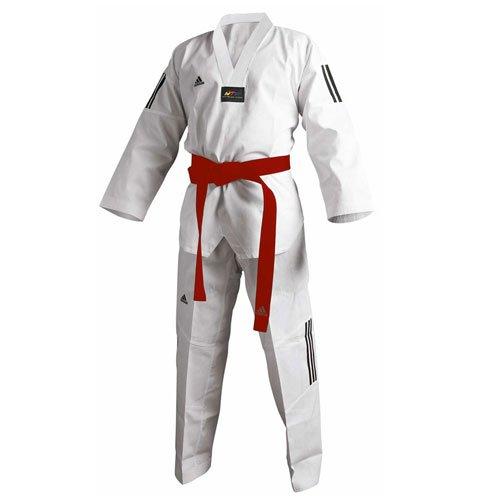 Adidas Taekwondo traje Adi Club 3, solapa blanca 210 cm.