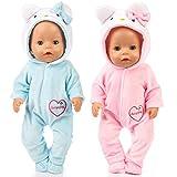 Amycute 2 Suit Ropa de la Muñeca del Traje del Gato con los Zapatos Doll del Bebé Recién Nacido Girl...