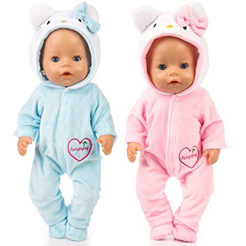 Amycute 2 Sets für Reborn-Puppen, Kleidung für 18 Zoll / 43 cm American Girl Puppen Our Generation