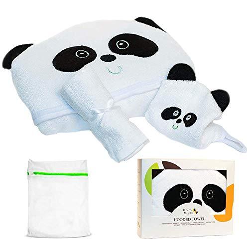 Accappatoio Biologico per Bambini (Salvietta & Sacchetto Portabiancheria Inclusi) | 100% Bambù, Ipoallergenico, Ultra Assorbente | Adatto a Neonati, Lattanti & Bambini (Panda)
