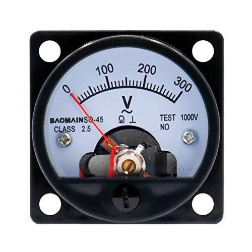 meter voltmeters Baomain Analog Dial Panel Meter Voltmeter Gauge SO-45 AC 0-300V Round Black