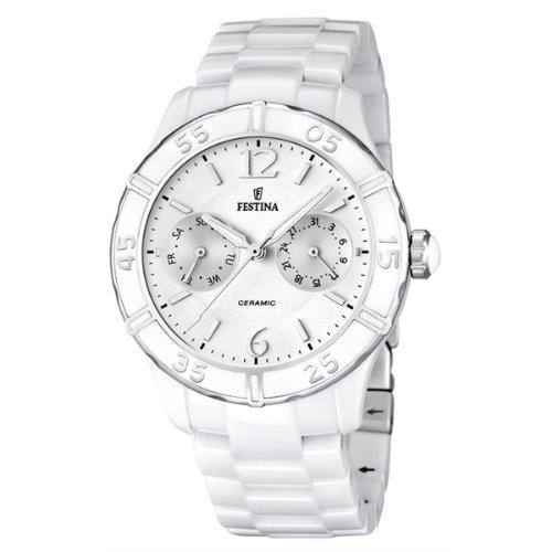 Festina F16622/1 - Reloj analógico de Cuarzo para Mujer con Correa de cerámica, Color Blanco