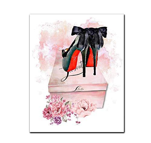 MDGCYDR 5D Bricolaje, Flor Rosa Perfume Tacones Altos Color Completo Diamante Bordado Punto De Cruz Redondo Diamante Pintura Arte Artesanía / Lienzo Decoración De La Pared
