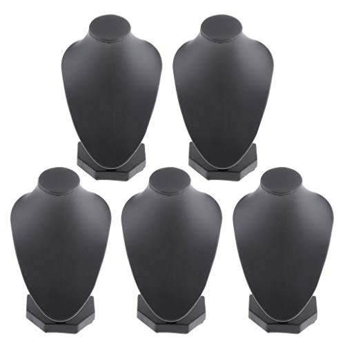 kowaku 5 Lotes de Joyería de La Tienda de Exhibición del Busto del Collar de Cuero de La PU Negro