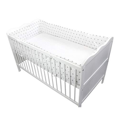 TupTam Protector para Cama de Bebé Largo Acolchado, Estrellas Blanco, 420x30 cm (Cuna 140x70 cm)