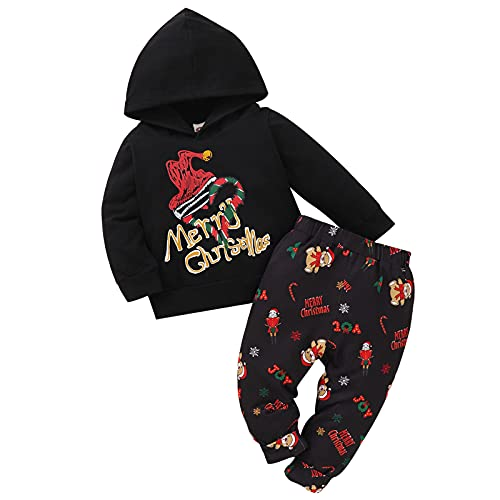 Toddler Baby Winter Clothes Sets Kids Girls Boys Christmas Print Hooded Pullover Tops Long Warm Pants Trousers Set Outfits Black