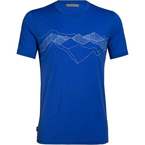 Icebreaker Tech Lite Peak Patterns T-Shirt Col Ras-du-Cou Homme, Lapis Modèle S 2020 T-Shirt Manches Courtes
