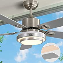Ceiling Fan with Lights LED Ceiling Fan AC Motor Modern Ceiling Fan with Remote Control Sofucor 52-Inch Brushed Nickel Flush Mount Ceiling Fan 5 Reversible Silver Blades Noiseless Reversible Motor