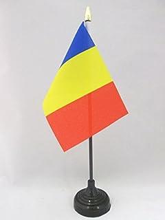 AZ FLAG Bandera de Mesa de Andorra Civil 15x10cm - BANDERINA de DESPACHO Andorran SIN Escudo 10 x 15 cm Punta Dorada