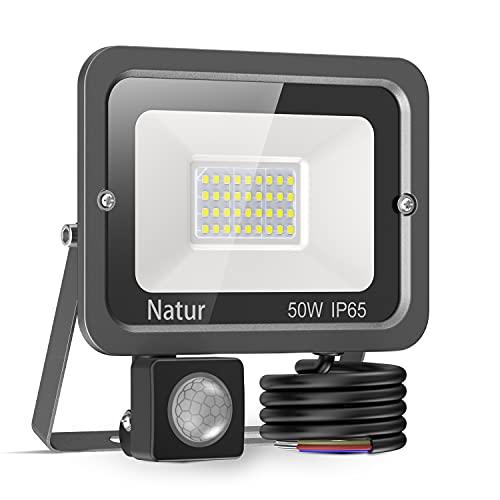 50W Foco LED Exterior con Sensor Movimiento, bapro Proyector LED Alto Brillo 5000 lúmen, IP65 Impermeable Floodlight Blanco Frío 6000K Iluminación de Exterior Seguridad para Jardín, Garaje,Fábrica