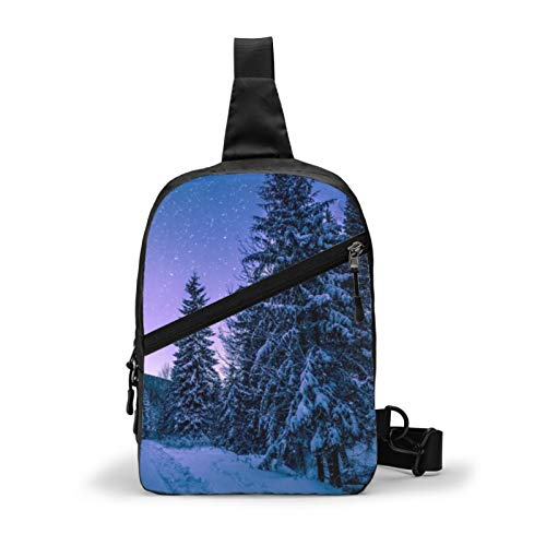 Seekingnewfree Best Forest Night Unisex Sling Backpack, Anti-Theft Chest Crossbody Bag, Anti Water Splash Foldable Shoulder Daypack for Travel Hiking Bicycle Sport