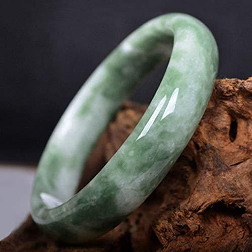 SHIYONG Brazalete de Pulsera de Jade Verde Chino Mujer, brazaletes de Esmeralda tallados a Mano, joyería para Mujer, Fiesta