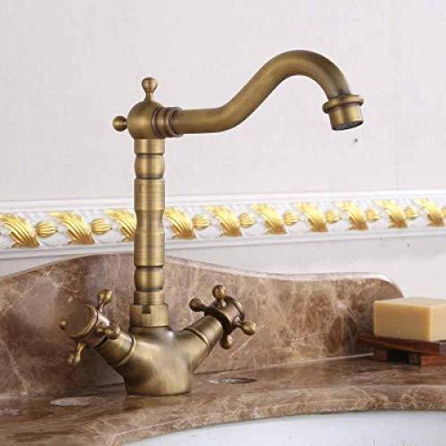 Todo el cobre europeo antiguo negro y dorado que gira sobre el grifo del lavabo del mostrador grifo del lavabo del grifo de agua fría y caliente-Corto antiguo