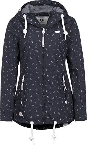 Ragwear ZUZKA Anchors Damen,Jacke,Übergangsjacke mit Kapuze,vegan,Reißverschluss,Zwei Taschen,Navy,S