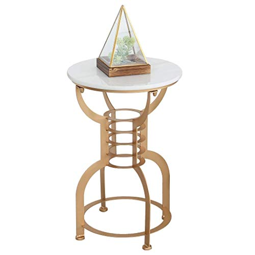WGFGXQ Creative Side Table/Wrought Iron End Table, Metal Bracket, The Best Companion for The Living Room Sofa, Round, Multi-Color Optional