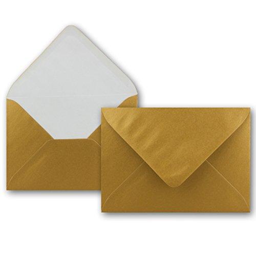 25 Brief-Umschläge - Gold Metallic - DIN C6-114 x 162 mm - Kuverts mit Nassklebung ohne Fenster für Gruß-Karten & Einladungen - Serie FarbenFroh®