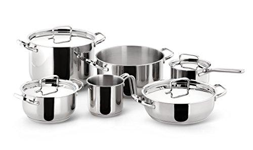 Lagostina Sfiziosa Batería De Cocina con 10 Piezas, Acero Inoxidable, Plateado