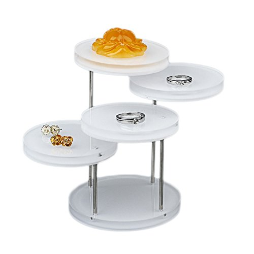 Funnuf 4 Tier Acrylic Rotatable Jewelry Display Stands for Rings Earrings, White