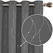 Deconovo Grey Curtains Dotted Line Foil Printed Thermal Insulated Blackout Curtains Kid s Curtains Window Treatment Eyelet Curtains for Children 46 x 54 Inch Grey Two Panels