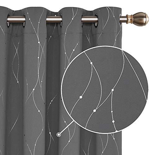 Deconovo Cortinas Opacas con Líneas Plateada para Sala y Cocina con 8 Ojales 117 x 138 cm 2 Unidades Gris Claro