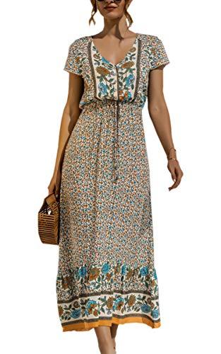 Spec4Y Maxikleid Damen Sommer Blumen Sommerkleider Lang Kleider Kurzarm V-Ausschnitt Strandkleider mit Kordelzug 2159 Aprikose Large