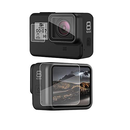 QULLOO Displayschutzfolie für GoPro Hero 8 Black, Panzerglas Schutzfolie Zubehör Schutzkamera Folie HD Klar Objektivschutz Zubehör für GoPro Hero 8 Black Action Kamera [4 Stück]
