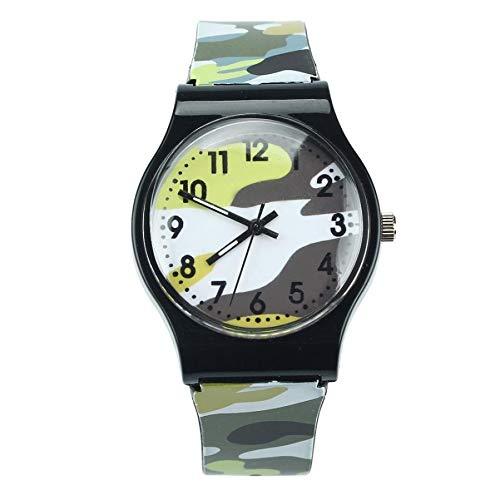 JJY 2020 de la Manera 1pc Relojes de los niños del Estilo del Camuflaje Las Muchachas del Muchacho de Cuarzo analógico Reloj de Goma del Reloj del Deporte de los niños (Color : E)