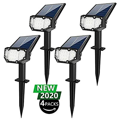 Otdair Solar Landscape Spotlights, 19 LED Solar Powered Lights Outdoor IP67 Pathway Lights Wireless, Bright White, 2 in 1 Wall Lights Yard Lights for Garden Driveway Porch Walkway Pool Patio 4Pcs