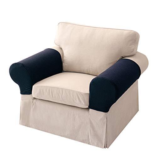 2 Stück Sofa Armlehnenschoner Rutschfester Stretch-Armlehnenbezug für Sessel Hochwertiger Elasthan Stretchhusse Überzug für Sofa Armlehne 2 Dichte zur Wahl Dunkelblau Einschicht