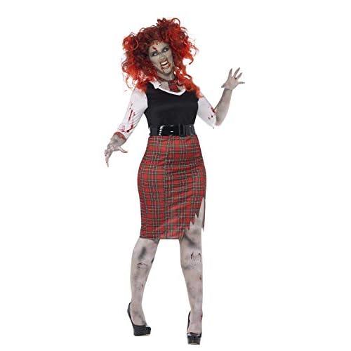 SMIFFYS Costume Zombie Studentessa con Curve, comprende Abito, Cravatta e Cinta