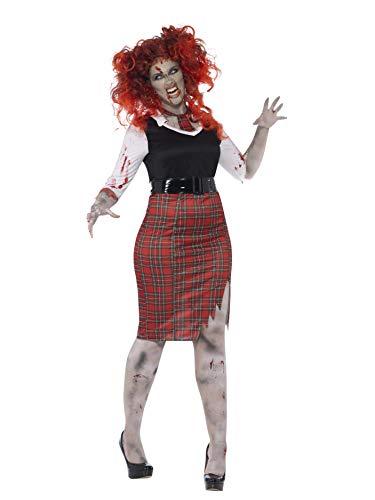 Smiffys, Damen Zombie-Schulmädchen Kostüm, Kleid, Krawatte und Gürtel, Größe: X1, 44350