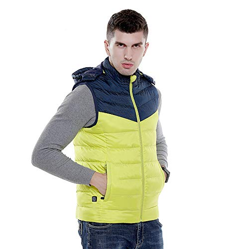 Roboraty verwarmd wintervest, elektrische verwarming outdoor, wandelen, jacht, camping gilet, infrarood verwarming warm vest, met USB-interface, verwarmd vest voor mannen XXXXL geel
