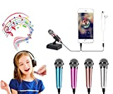Mini Microphone Mini Portable Vocal/Instrument Microphone Mobile Laptop Notebook Apple iPhone Samsung Android (with Stand) Rose Gold