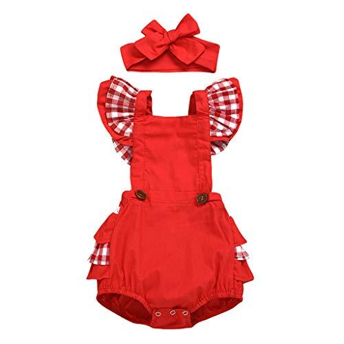 Topkeal - Conjunto de ropa de bebé para verano con mangas voladoras, mono para niña, estampado de cuadros y cinta para el pelo Rot-a. 100 cm