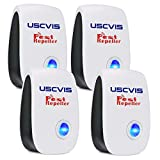 Ultrasonic Pest Repeller, Electronic Plug In Indoor Pest Control for Mosquitoes, Cockroaches, Mouse, Flies, Spriders, Rodents, Fleas, Ultrasonic Insect Repellent 100% Harmless to Pet and Human(4 Pack)