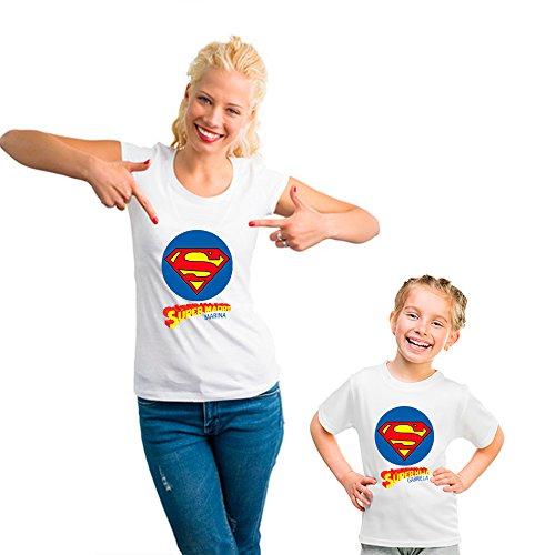 Regalo Personalizado para Madres: Pack de Camiseta Super mamá y Super Hijo, Camiseta para mamá y para Hijo/a Personalizado con Sus Nombres