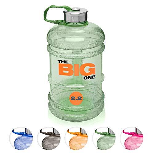 XXL Trinkflasche/Water Jug/Wasser Gallone / 2,2Liter Sportflasche BZW. Wasserflasche aus hochwertigen Tritan (BPA-frei) perfekt für Crossfit, Fitness, Bodybuilding, MMA & Krafttrainingl/grün