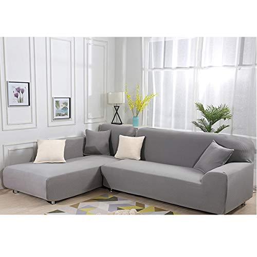 Sofa Überwürfe elastische Stretch Sofa Bezug 2er Set 3 Sitzer für L Form Sofa(grau)
