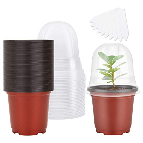 """MIXC Plant Nursery Pots with Humidity Dome 4"""" Soft Transparent Plastic Gardening Pot Planting Containers Cups Planter Small Starter Seed Starting Trays for Seedling with 10pcs Plant Labels,30 Sets"""