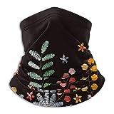 Borde floral bordado Flores Nature Fleece Cuello calentador Hombres - Polaina de cuello a prueba de viento Mascarilla para climas fríos - Bufanda facial para actividades de invierno al aire libre