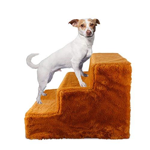 PETLESO Haustiertreppe 3 Schritte Treppe für Hund Montieren Katzentreppe mit Waschbarem Plüschbezug Hunderampe für Sofa/Bett
