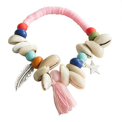 Kiss Me! Ibiza Hippie-markt Elastieken armband voor dames, met zilveren ster, veren, schelpen, parels, verschillende kleuren