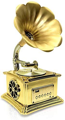 TYX-SS Giradischi in Vinile, Modello di fonografo retrò in Metallo Giradischi Vintage Prop Grammofono Antico per Arredamento Bar Club Home Office-Champagne Gold
