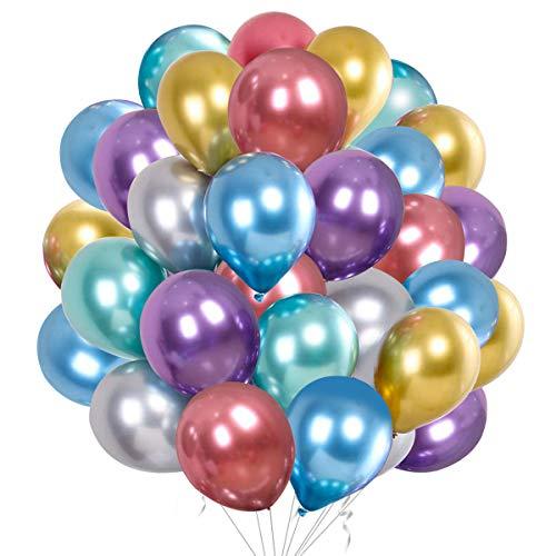50Pezzi Palloncini Colorato metallizzati per festa Palloncini in lattice Colorato lucido per compleanno Matrimonio Fidanzamento Anniversario Baby Shower Picnic Laurea o qualsiasi decorazione per feste