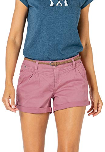 Sublevel Damen Kurze Hose Stretch-Shorts mit Flecht-Gürtel Dark-Rose S